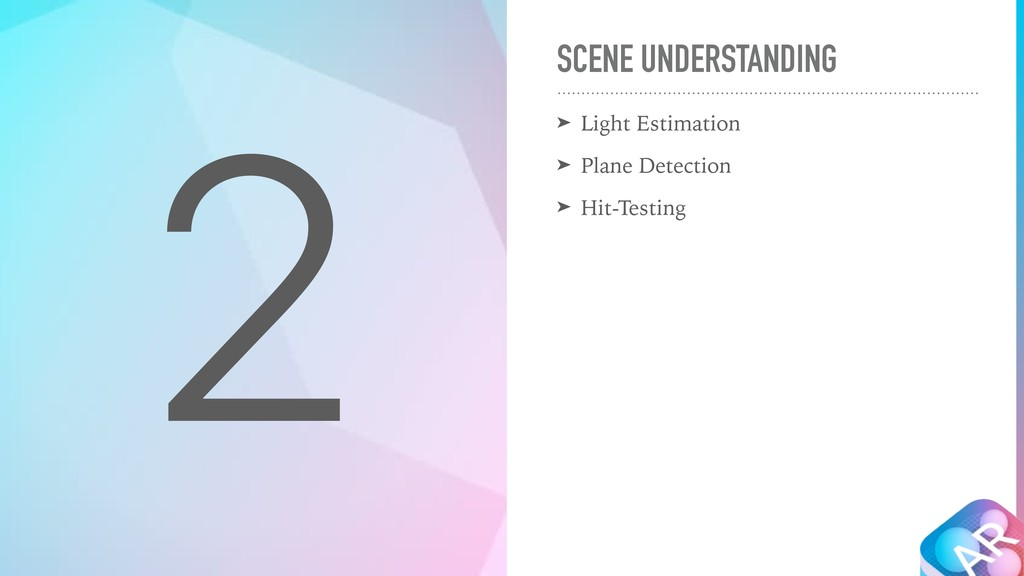 2 SCENE UNDERSTANDING ➤ Light Estimation ➤ Plan...