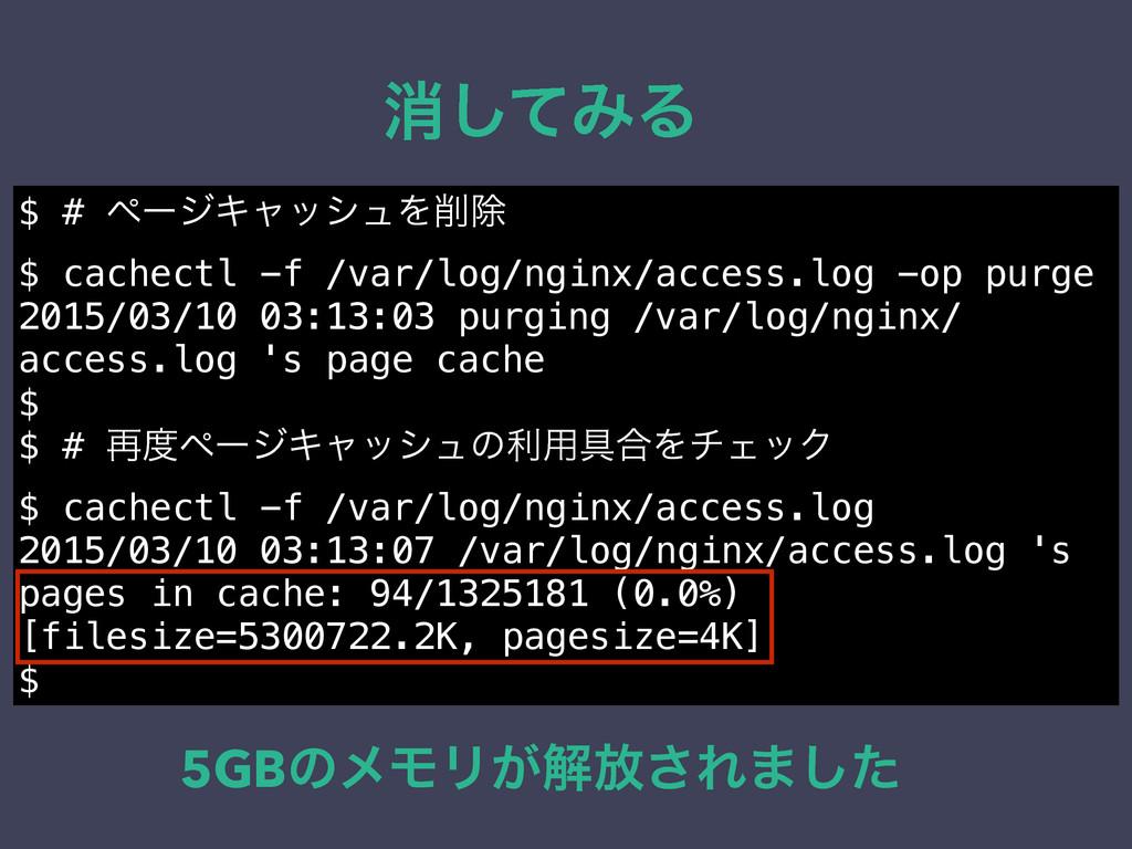 ফͯ͠ΈΔ $ # ϖʔδΩϟογϡΛআ $ cachectl -f /var/log/ng...