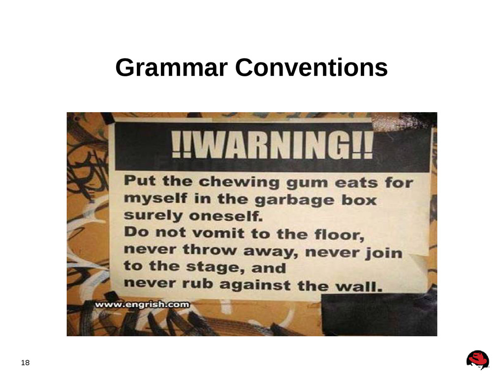 18 Grammar Conventions