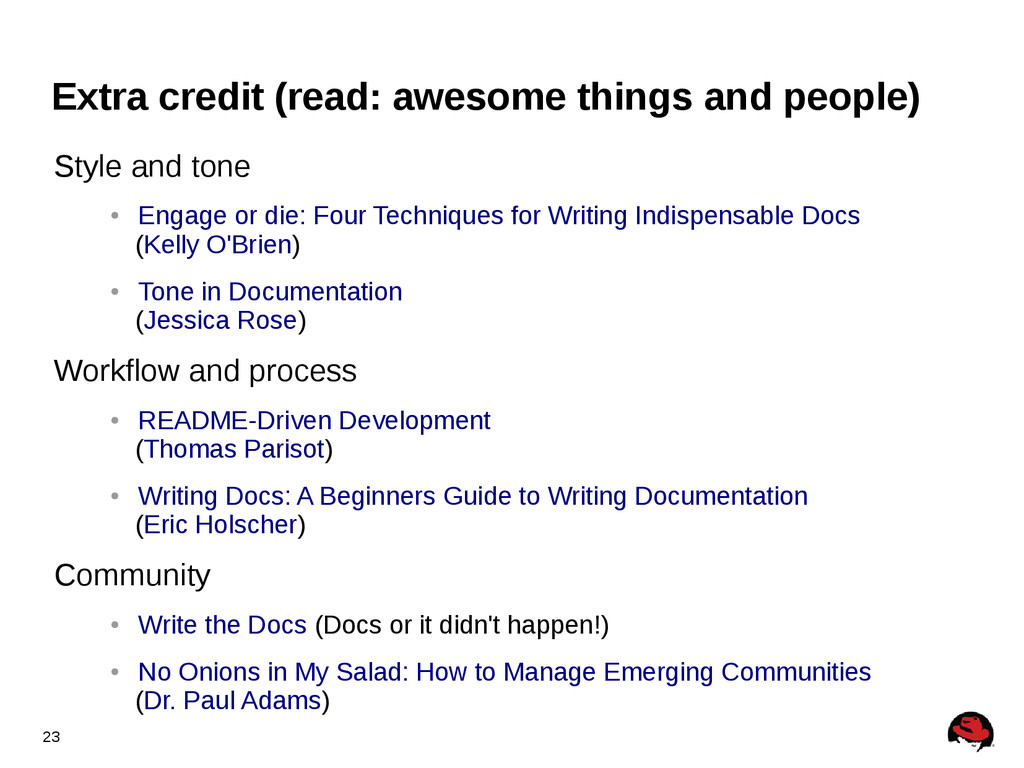 23 Extra credit (read: awesome things and peopl...
