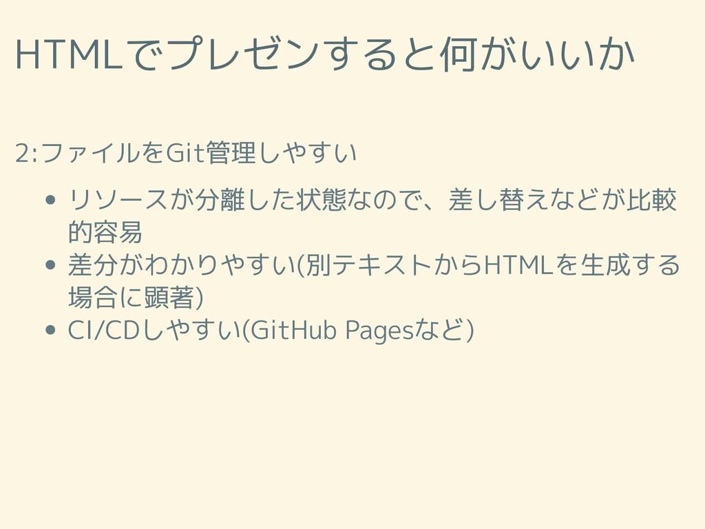 HTMLでプレゼンすると何がいいか 2:ファイルをGit管理しやすい リソースが分離した状態な...