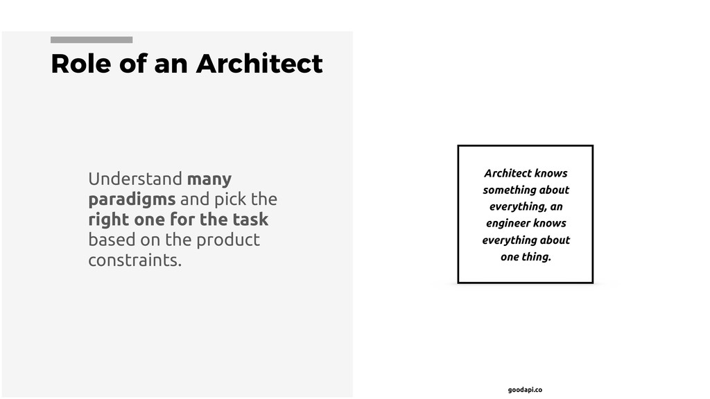 goodapi.co Role of an Architect Architect knows...