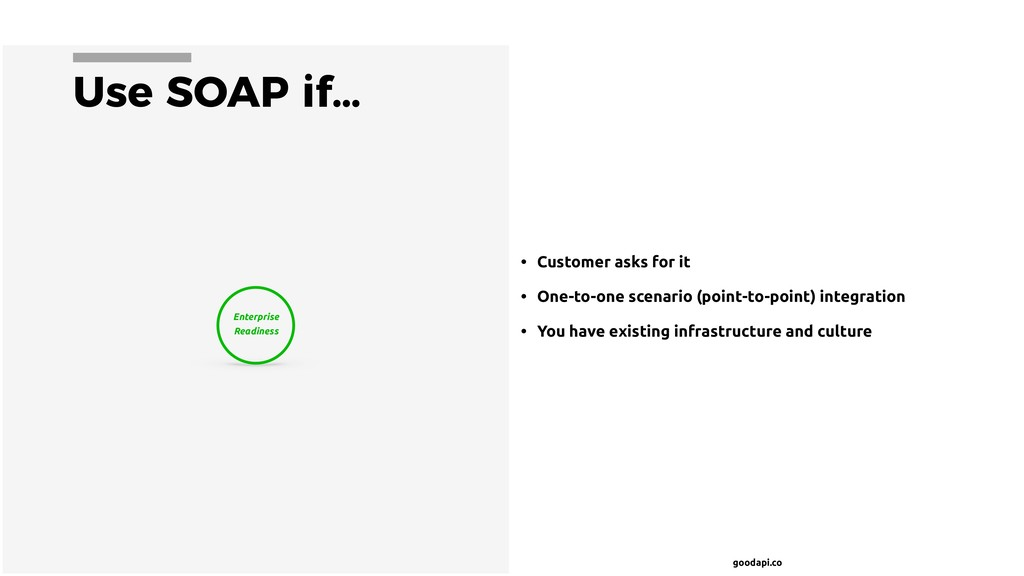 goodapi.co Use SOAP if… • Customer asks for it ...