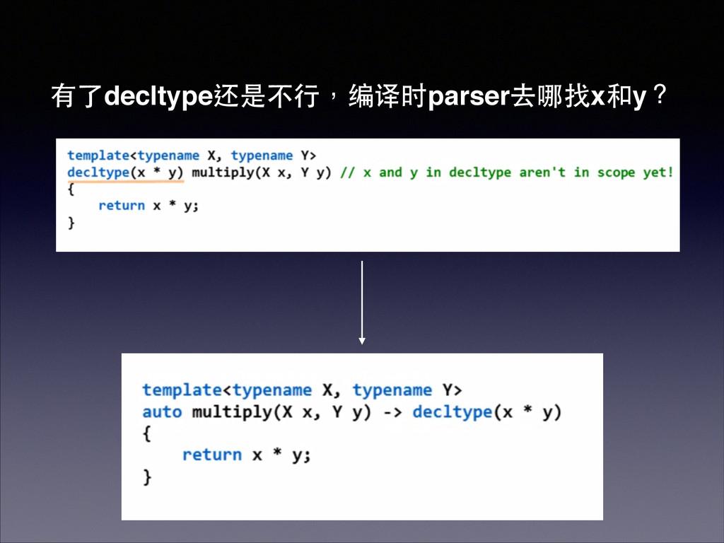 有了decltype还是不⾏行,编译时parser去哪找x和y?