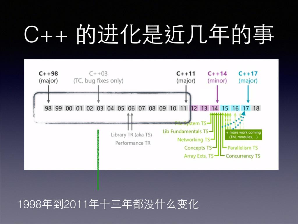 C++ 的进化是近⼏几年的事 1998年到2011年⼗十三年都没什么变化
