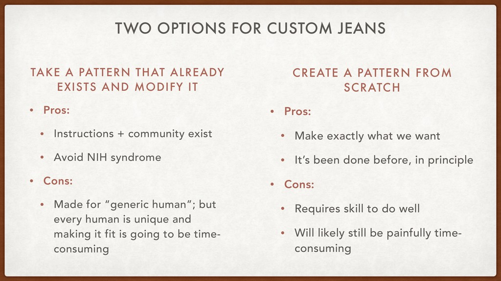 TWO OPTIONS FOR CUSTOM JEANS TAKE A PATTERN THA...