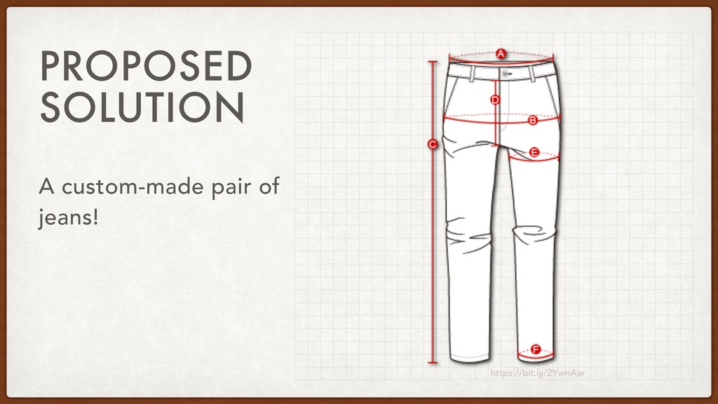PROPOSED SOLUTION A custom-made pair of jeans! ...