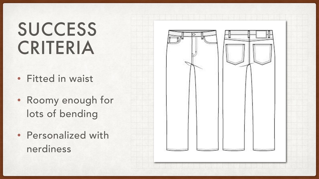 SUCCESS CRITERIA • Fitted in waist • Roomy enou...