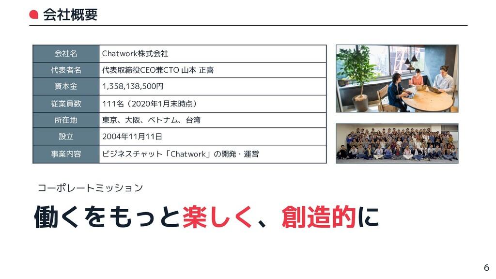 会社概要 会社名 Chatwork株式会社 代表者名 代表取締役CEO兼CTO 山本 正喜 資...