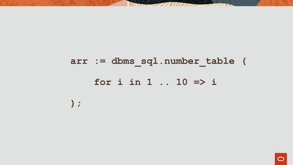 arr := dbms_sql.number_table ( for i in 1 .. 10...
