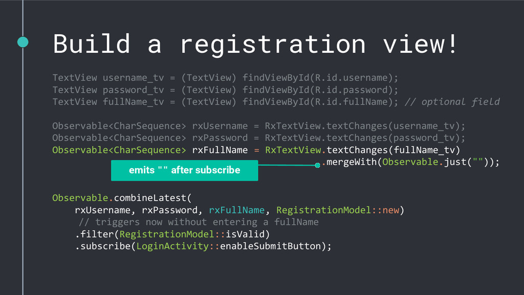 Build a registration view! TextView username_tv...