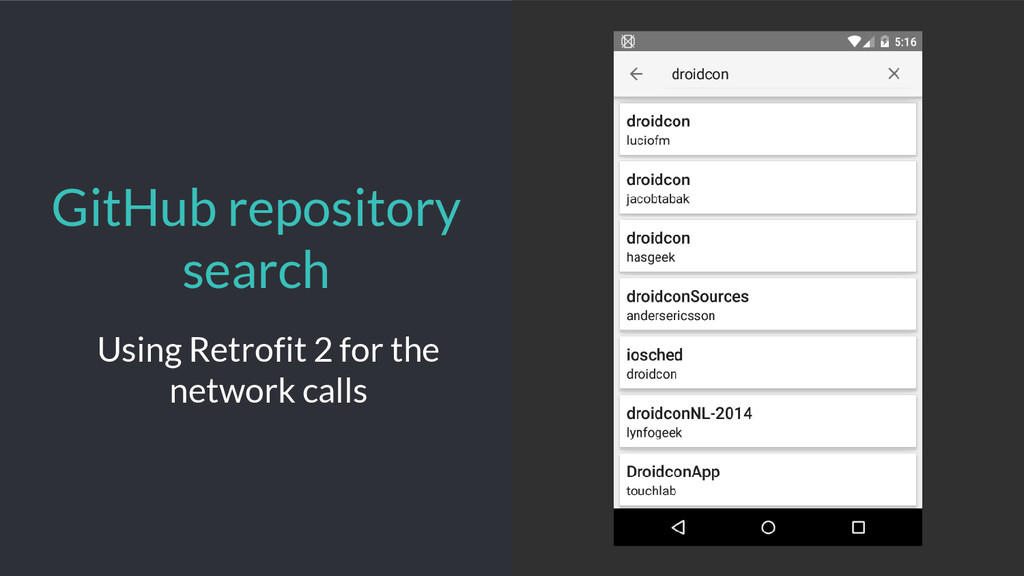 GitHub repository search Using Retrofit 2 for t...