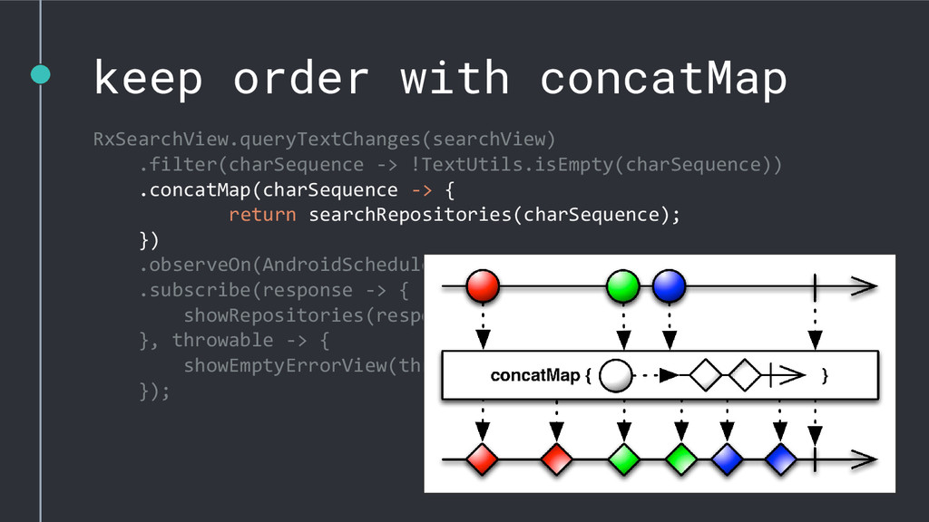 keep order with concatMap RxSearchView.queryTex...
