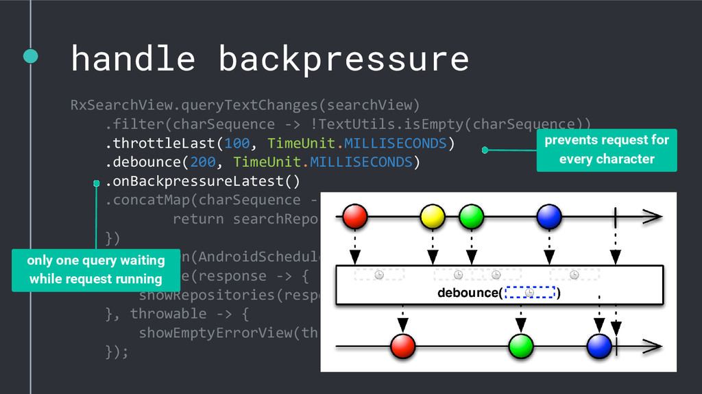 handle backpressure RxSearchView.queryTextChang...