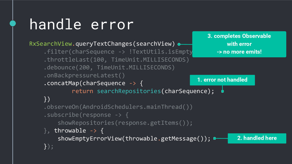 handle error RxSearchView.queryTextChanges(sear...