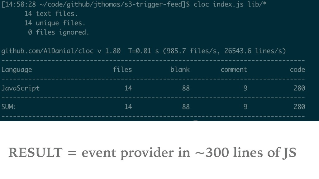 RESULT = event provider in ~300 lines of JS