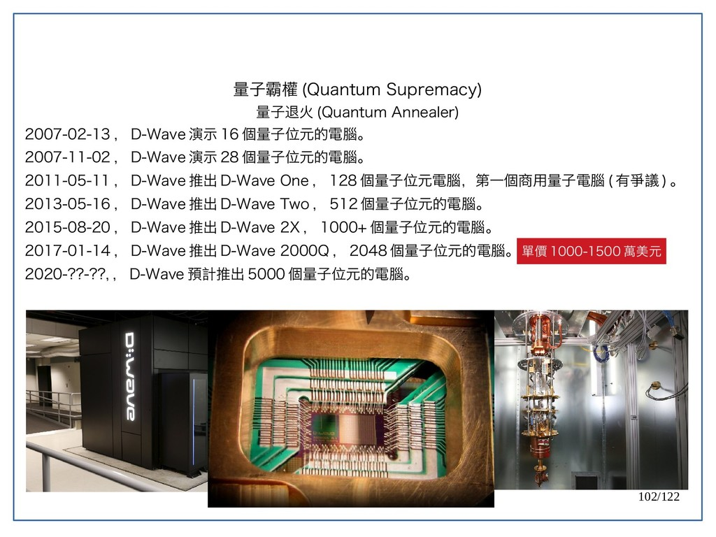 102/122 2007-02-13 , D-Wave 演示 16 個量子位元的電腦。 200...