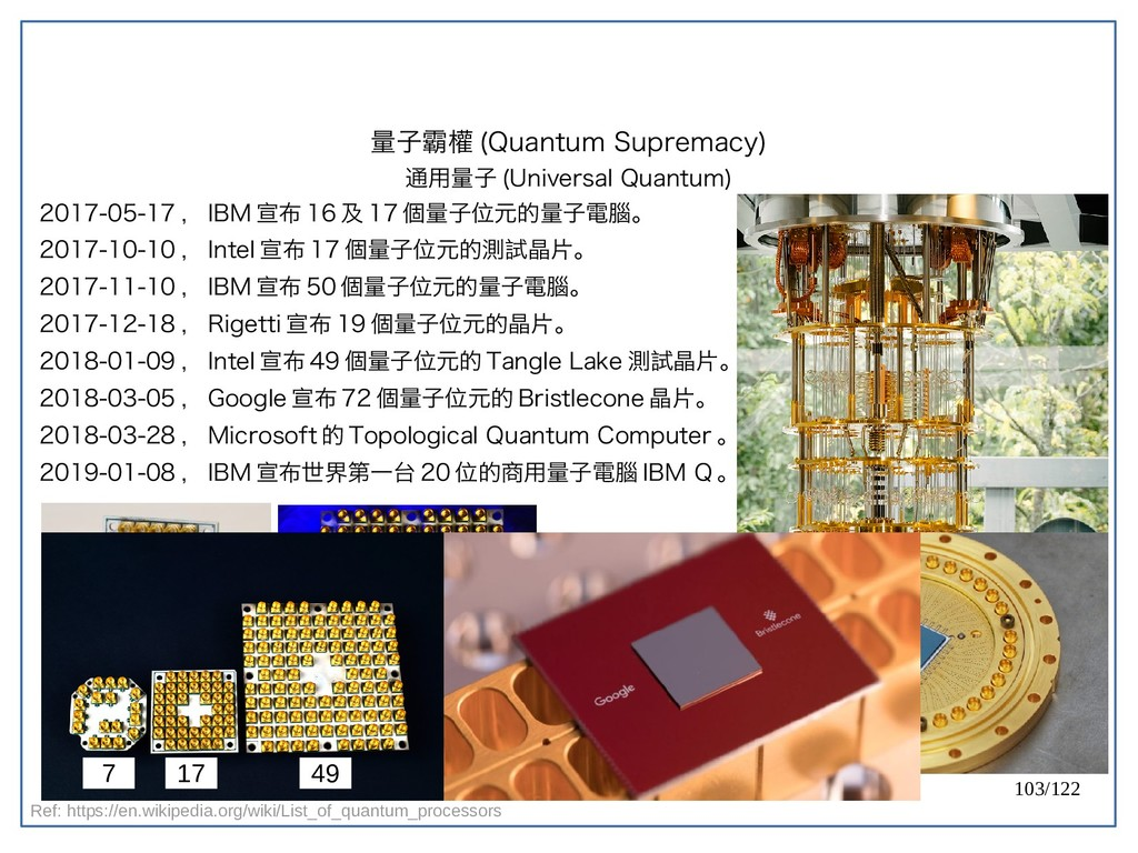 103/122 2017-05-17 , IBM 宣布 16 及 17 個量子位元的量子電腦。...