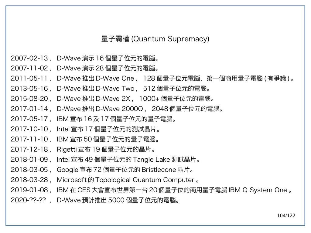 104/122 量子霸權 (Quantum Supremacy) 2007-02-13 , D...