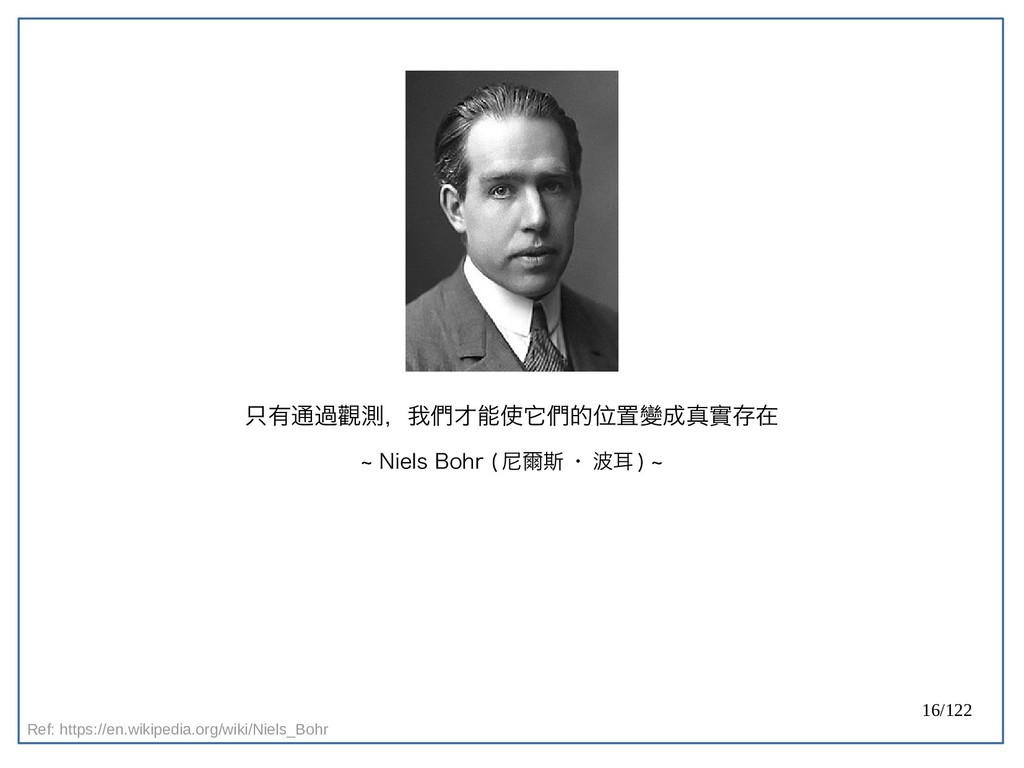 16/122 只有通過觀測,我們才能使它們的位置變成真實存在 ~ Niels Bohr ( 尼...