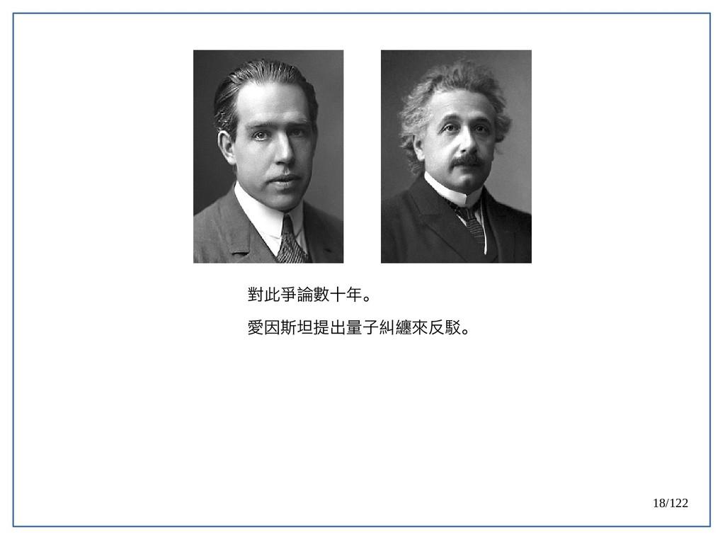 18/122 對此爭論數十年。 愛因斯坦提出量子糾纏來反駁。