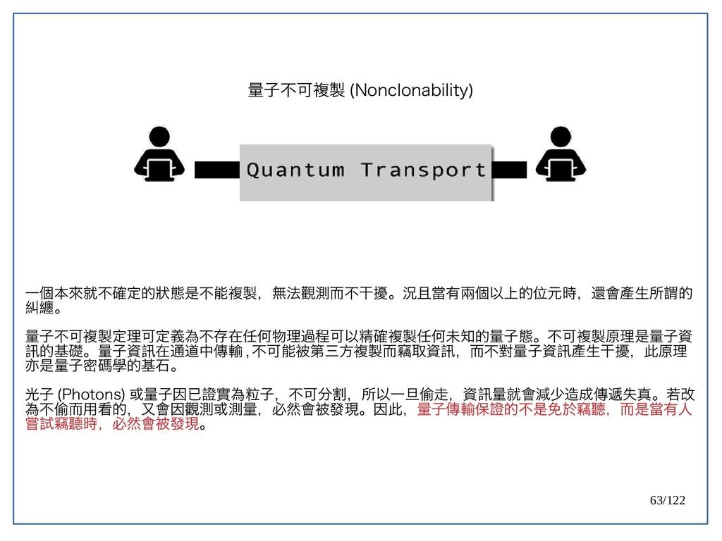 63/122 量子不可複製 (Nonclonability) 一個本來就不確定的狀態是不能複製...