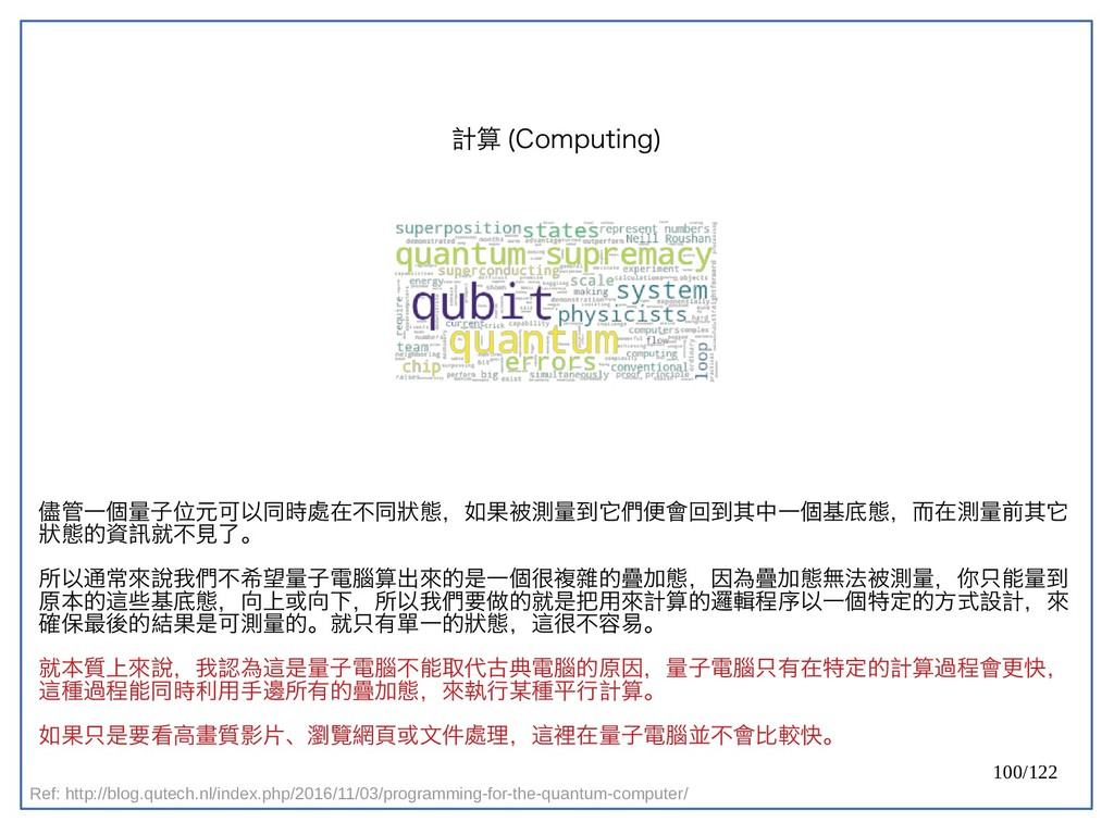 100/122 計算 (Computing) 儘管一個量子位元可以同時處在不同狀態,如果被測量...