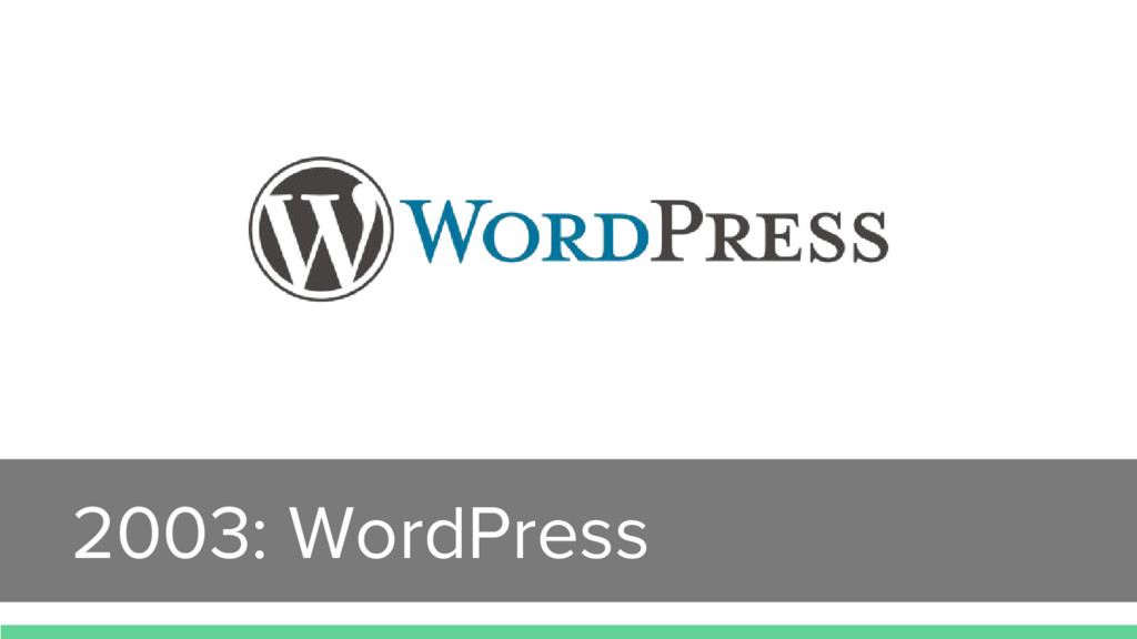 2003: WordPress