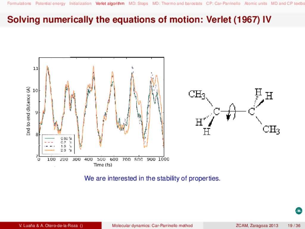 Formulations Potential energy Initialization Ve...