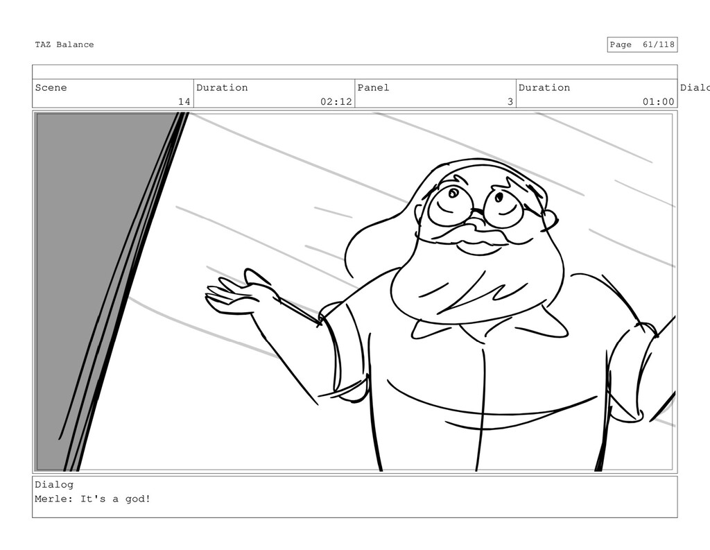 Scene 14 Duration 02:12 Panel 3 Duration 01:00 ...
