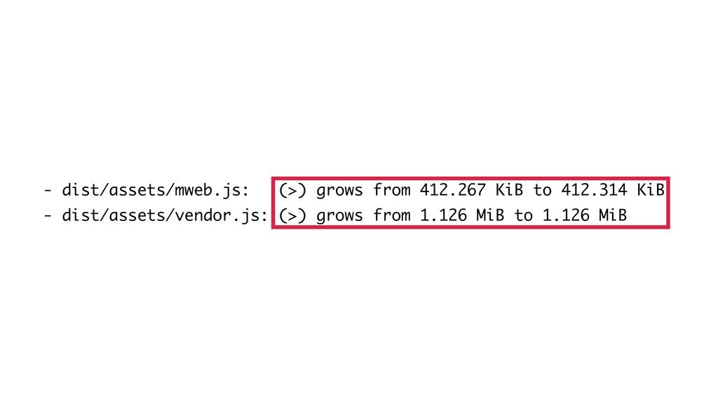 - dist/assets/mweb.js: (>) grows from 412.267 K...