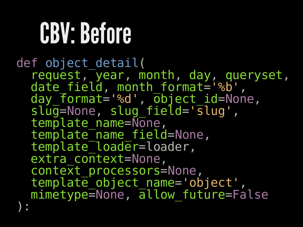 CBV: Before def object_detail( request, year, m...
