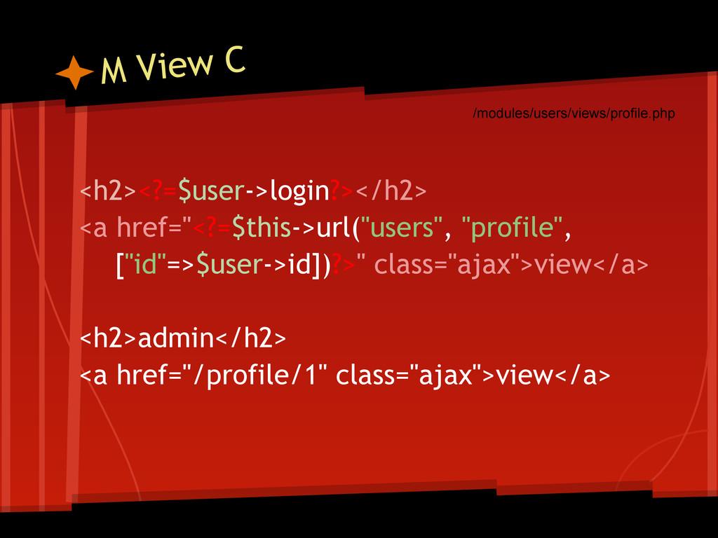 """M View C <h2><?=$user->login?></h2> <a href=""""<?..."""
