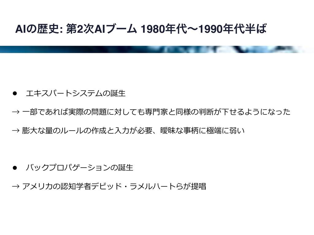 AIͷྺ: ୈ2AIϒʔϜ 1980ʙ1990 • エキスパートシステムの誕⽣...