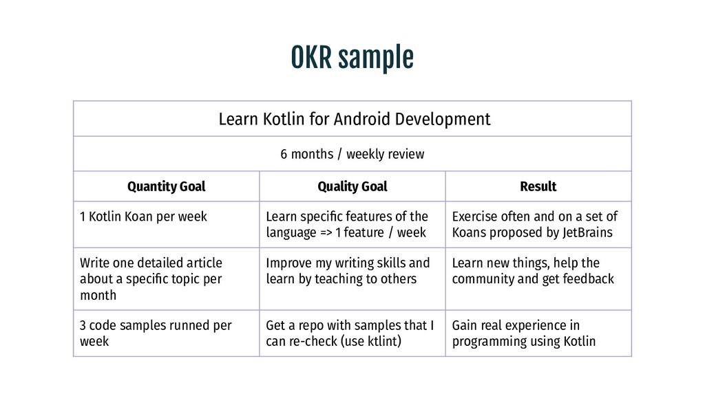OKR sample Learn Kotlin for Android Development...