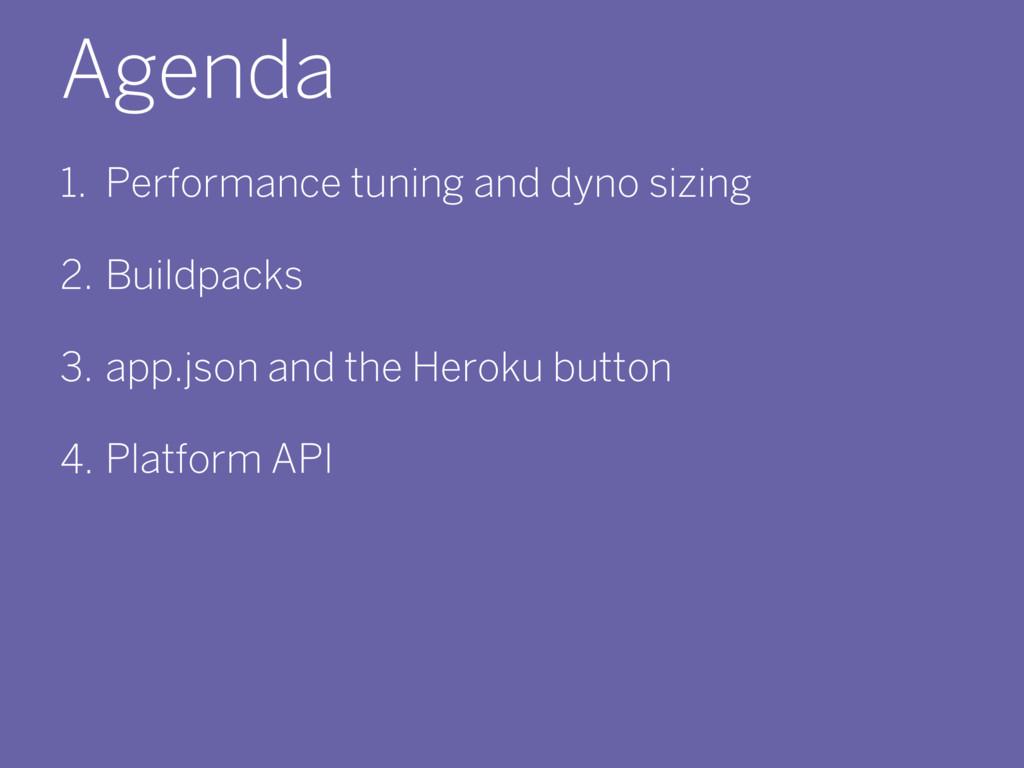 Agenda 1. Performance tuning and dyno sizing 2....