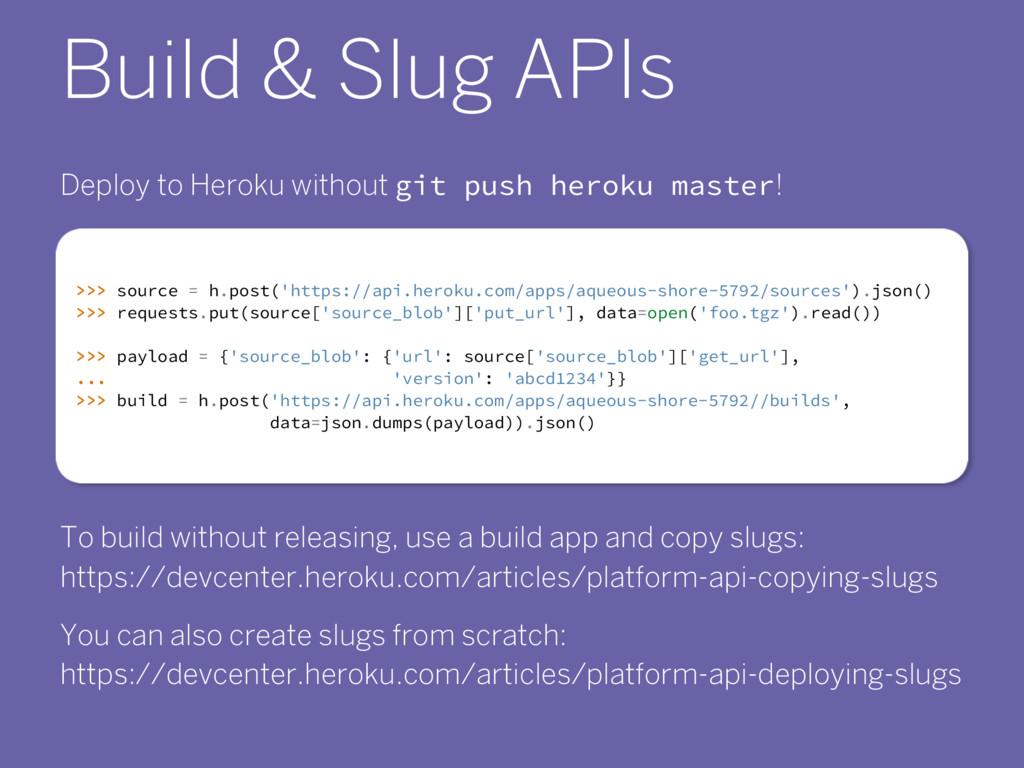 Build & Slug APIs Deploy to Heroku without git ...