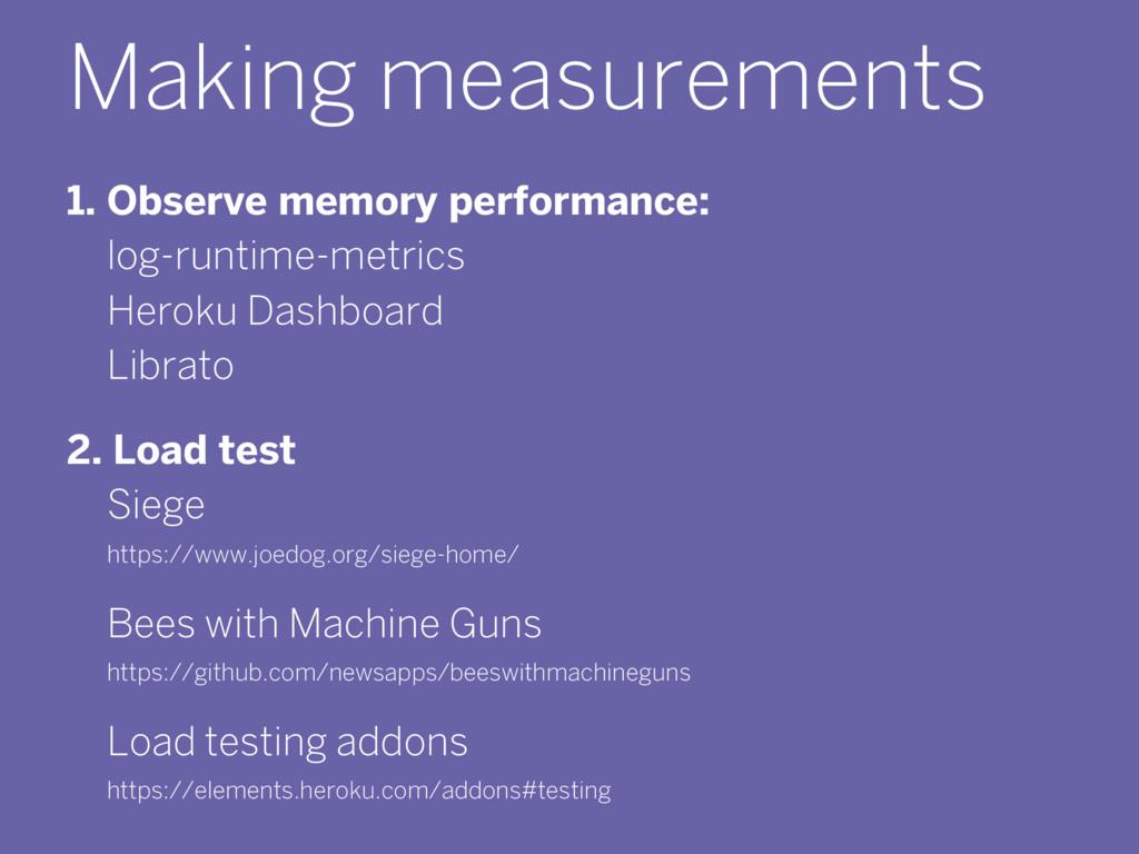 Making measurements 1. Observe memory performan...