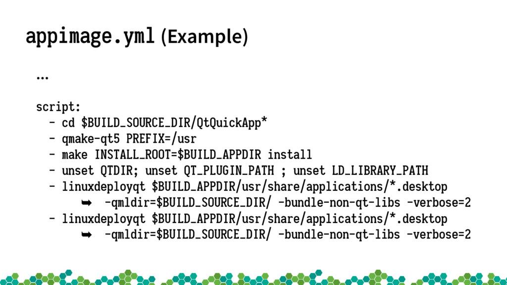appimage.yml (Example) … script: - cd $BUILD_SO...