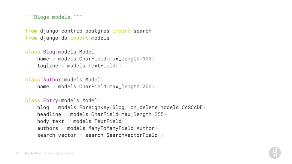 "Paolo Melchiorre ~ @pauloxnet """"""Blogs models.""..."