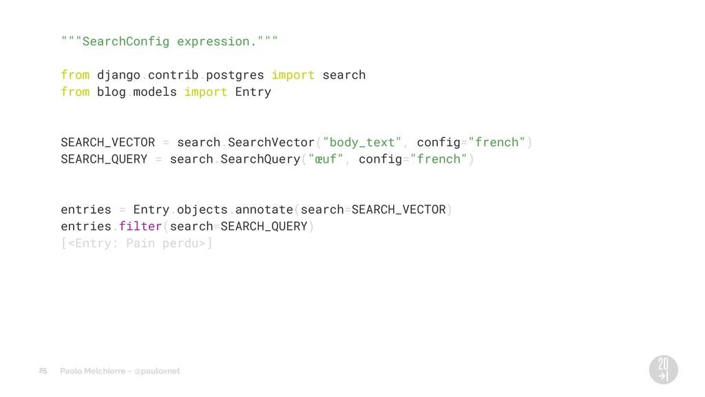"Paolo Melchiorre ~ @pauloxnet """"""SearchConfig e..."