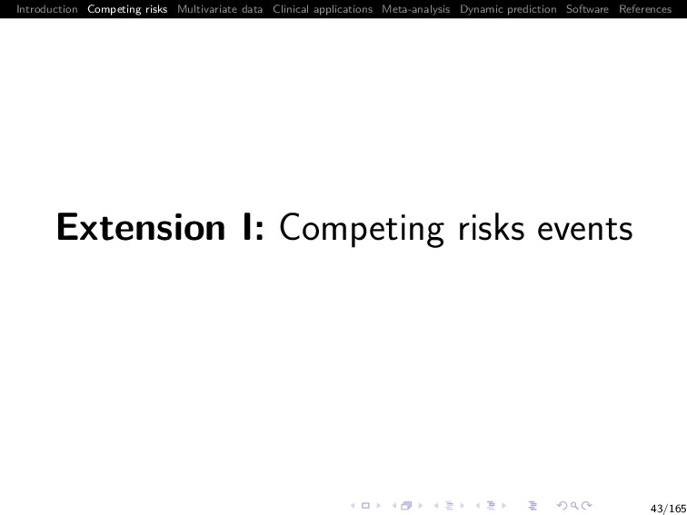 Introduction Competing risks Multivariate data ...