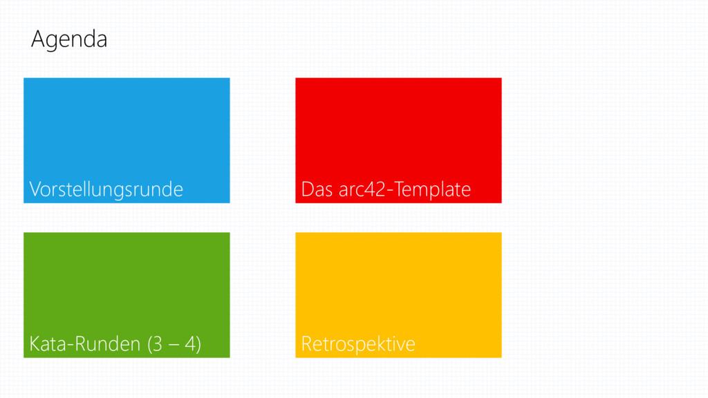 Agenda Vorstellungsrunde Das arc42-Template Kat...