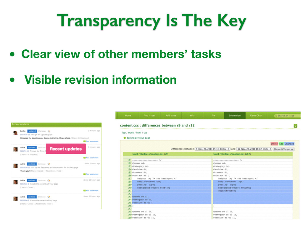 Transparency Is The Key • Clear view of other m...