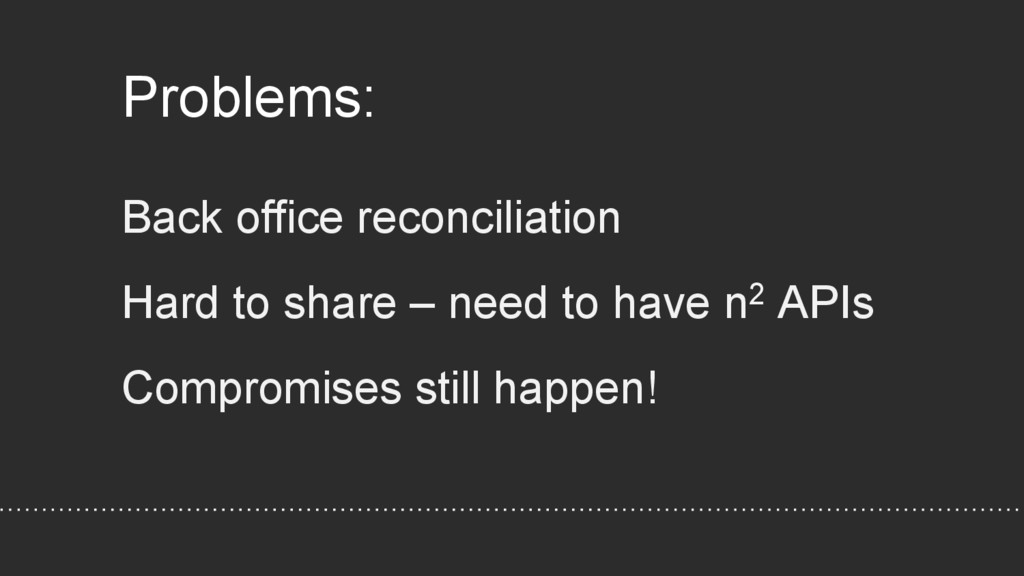 Problems: Back office reconciliation Hard to sh...