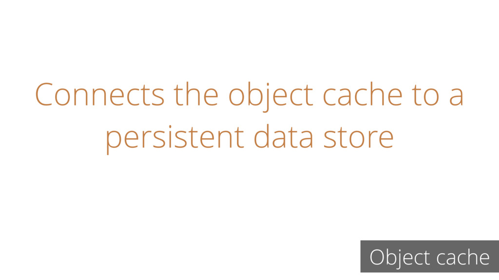 Connects the object cache to a persistent data ...