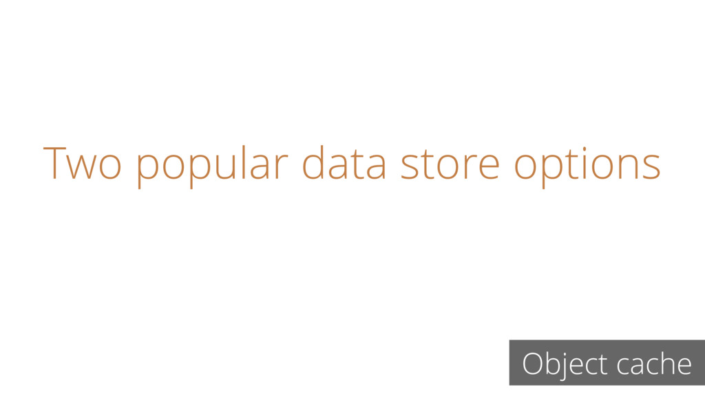 Two popular data store options Object cache