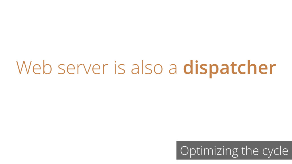 Optimizing the cycle Web server is also a dispa...
