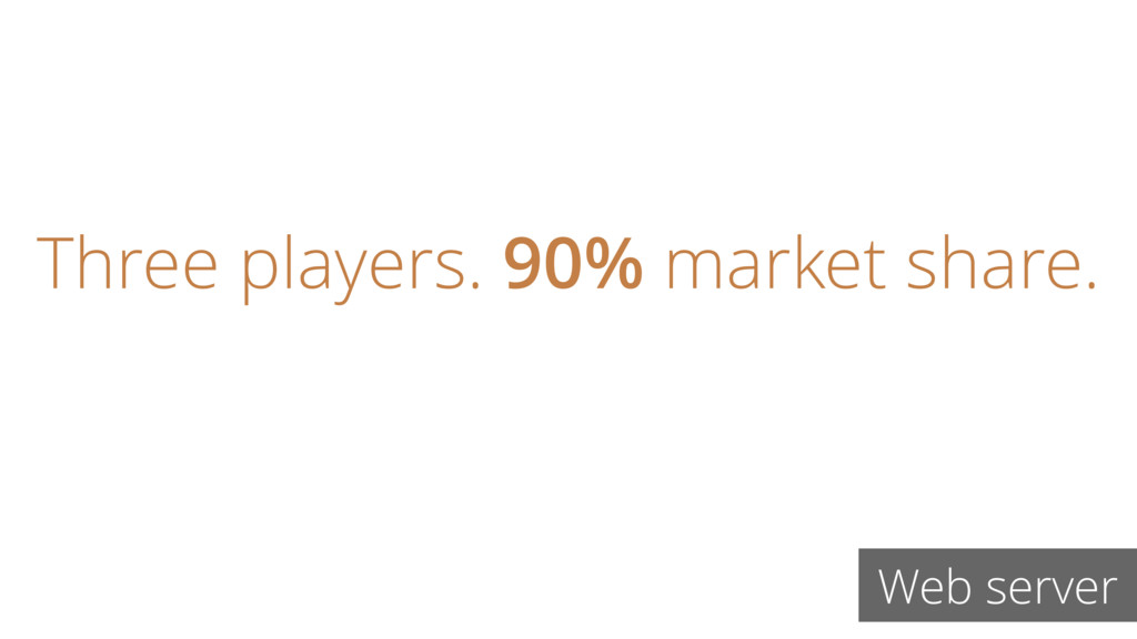 Web server Three players. 90% market share.