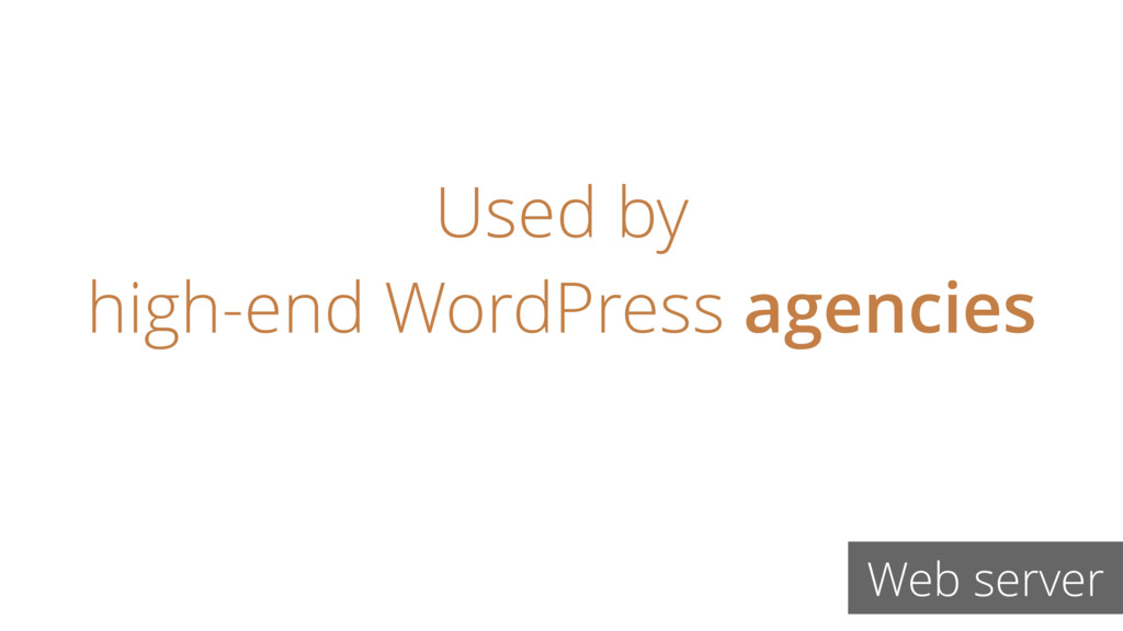 Used by high-end WordPress agencies Web server